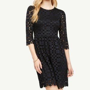 Ann Taylor Geo Flare Dress-Blue Size 4